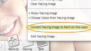 ArtRage Convert Tracing Image to Paint