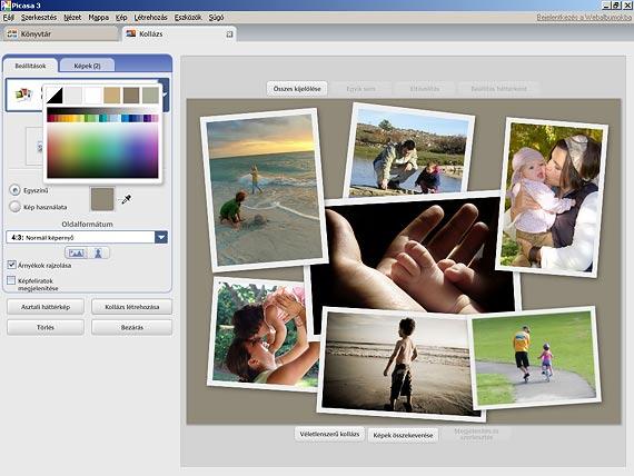 Picasa fotókollázs háttérszín